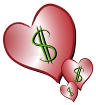 Three pink hearts each with a green dollar sign in the middle.